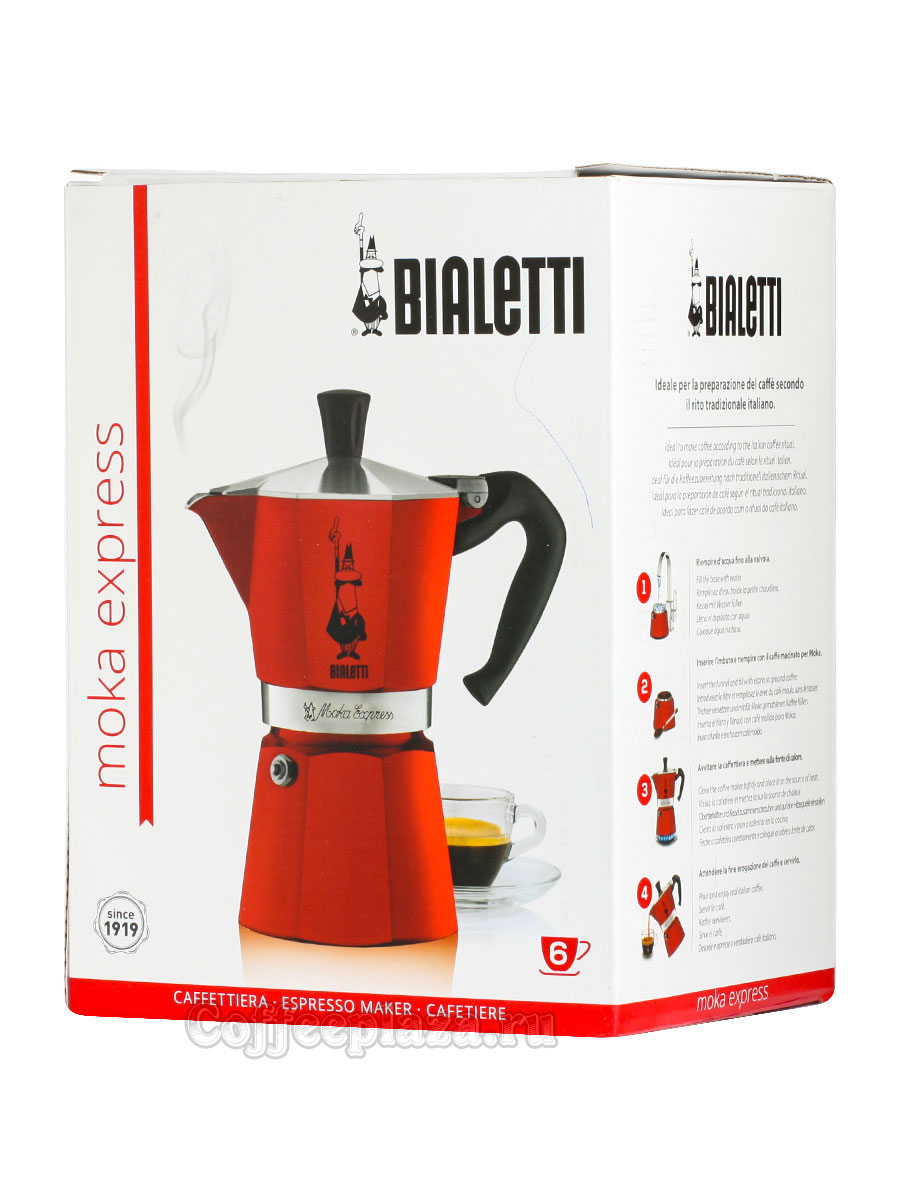 Гейзерная кофеварка Bialetti Moka Express Moka Red 6 порции 240 мл 4943