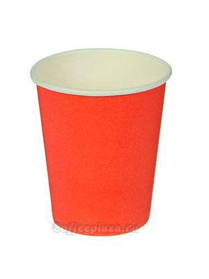 Стакан бумажный однослойный 400 мл красный