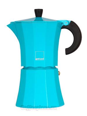 Гейзерная кофеварка Morosina (синяя) 6 порций