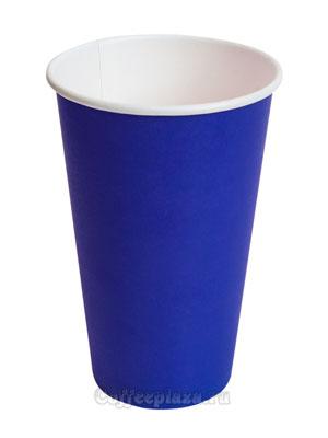 Стакан бумажный однослойный 400 мл синий