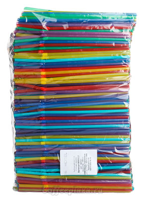 Трубочки со сгибом L=21см [1000шт]; D=5,H=480,L=290,B=70мм; разноцветные