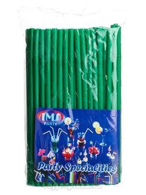 Трубочки со сгибом L=25см [100шт]; D=8,H=320,L=165,B=45мм; зеленый