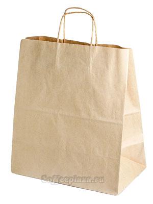 Пакет бумажный Крафт с крученными ручками 320-180-370мм