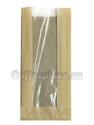Пакет бумажный с окном, плоское дно, 40 г Тонированный 110*40*260 (1000 шт)