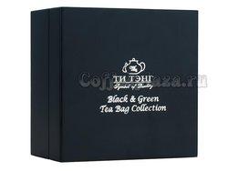 Подарочный набор Ти Тэнг чай черный и зеленый в пакетиках (Деревянная шкатулка, синяя)