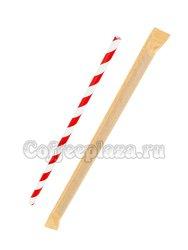Паперскоп Трубочки бумажные Леденец красно-белый в индивидуальной упаковке 6x200 мм (200 шт)