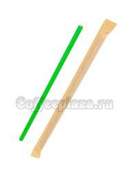 Паперскоп Трубочки бумажные зеленые в индивидуальной упаковке 6x200 мм (200 шт)