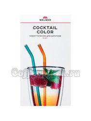 Walmer Coctail Color Набор из 6-ти Цветных трубочек+ёршик, стекло