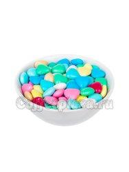Шоколадные сердечки в разноцветной сахарной глазури (на развес)