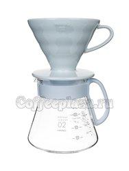 Hario Чайник белый + воронка керамическая белая (XVDD-3012W)