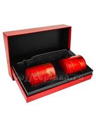 Коробка подарочная в подарочном пакете + 2 банки (красные) box-008