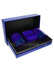 Коробка подарочная в подарочном пакете + 2 банки + 2 коробки синие (box-005)