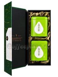 Коробка подарочная в подар. пакете + 2 банки зеленый (box-009)