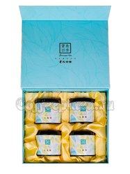 Коробка подарочная в подарочном пакете + 4 банки голубые (box-016)