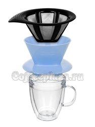 Bodum Pour Over Набор термобокал и кофейник с фильтром 2 в1 лунный (AK11872-338STR-Y20)