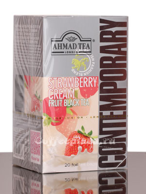 Чай Ahmad Tea Strawberry Cream. Ахмад Строубери крим в пакетиках