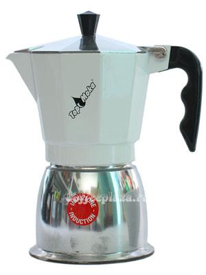 Гейзерная кофеварка Top Moka Caffettiera Top 6 порции (240 мл) белый argento индукционный