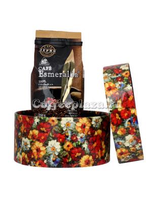 Подарочный набор в круглой коробке (кофе зерновой Cafe Esmeralda 250 гр)