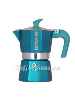 Гейзерная кофеварка Pedrini на 3 порции (120 мл) Бирюзовая