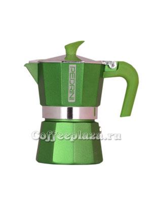Гейзерная кофеварка Pedrini на 3 порции (120 мл) Зеленая