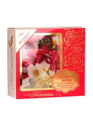 Tipson подарочный чайный набор N 1 3D открытка-магнит, салфетка и чай, розовый